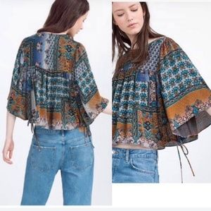 Zara trf poncho swing blouse top patchwork m shirt